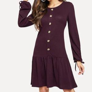 SHEIN Knot Cuff Buttoned Ruffle Hem Dress